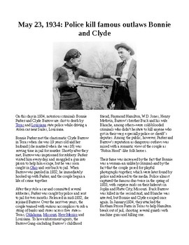 This Day in History - May 23: Bonnie and Clyde killed (no prep/sub plan)
