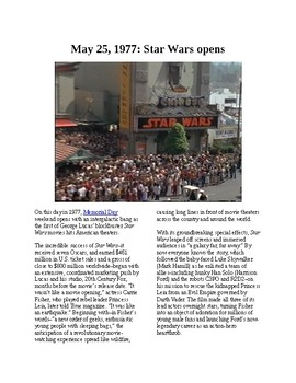 This Day in History - May 25: Star Wars opens (no prep/sub plans)