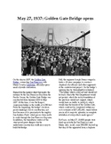 This Day in History - May 27: The Golden Gate Bridge opens (no prep/sub plan)
