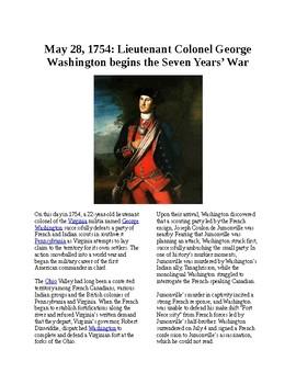This Day in History - May 28: Washington starts Seven Years' War (no prep/sub)