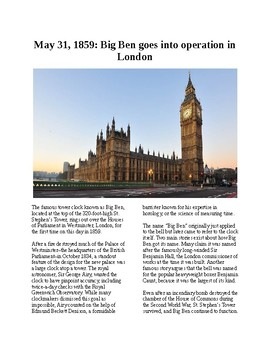 This Day in History - May 31: London's Big Ben opens (no prep/sub plans)
