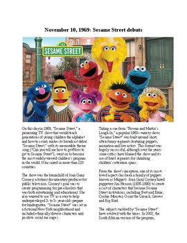 This Day in History - November 10: Sesame Street Debuts (no prep/sub plan)