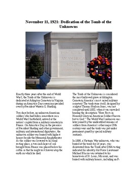 This Day in History - November 11: Tomb of the Unknowns Dedicated (no prep)