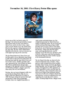 This Day in History - November 16: Harry Potter Movie Debut (no prep/sub plan)