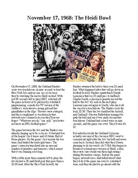"This Day in History - November 17: The ""Heidi Bowl"" Airs (no prep/sub plan)"