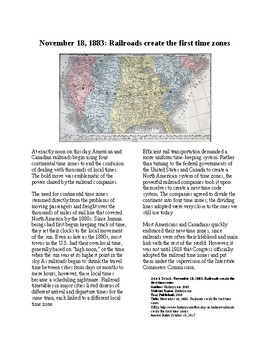 This Day in History - November 18: Time Zones Established (no prep/sub plan)
