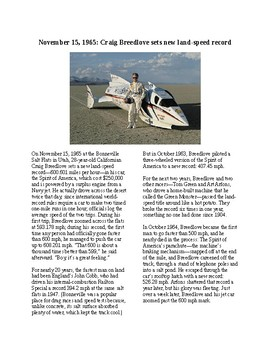 This Day in History - November 20: Land Speed Record Set (no prep/sub plan)