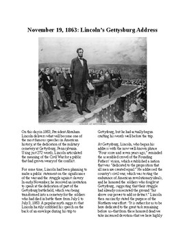 This Day in History - November 19: The Gettysburg Address (no prep/sub plan)