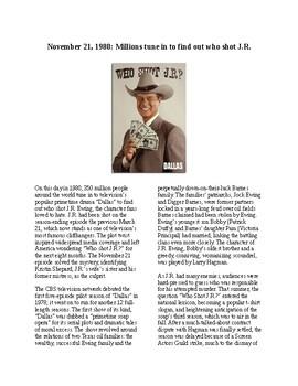 This Day in History - November 21: Who Shot JR? (no prep/sub plan)