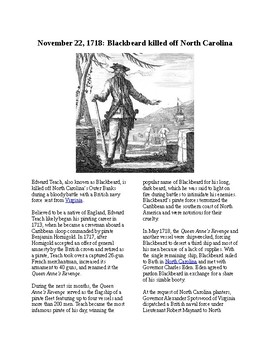 This Day in History - November 22 Blackbeard is Killed (no prep/sub plans)