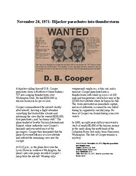 This Day in History - November 24: DB Cooper Escapes (no prep/sub plan)