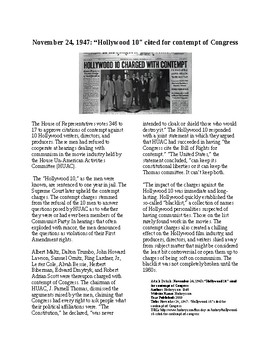 """This Day in History - November 24: The """"Hollywood Ten"""" in Contempt (no prep/sub)"""