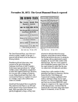 This Day in History - November 26: The Great Diamond Hoax (no prep/sub plan)