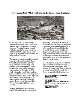 This Day in History - November 27: Freak Storm of 1703 (no prep/sub plan)