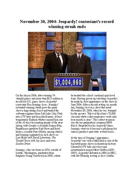 This Day in History - November 30: Jeopardy!  Champ Jennings Loses (no prep/sub)
