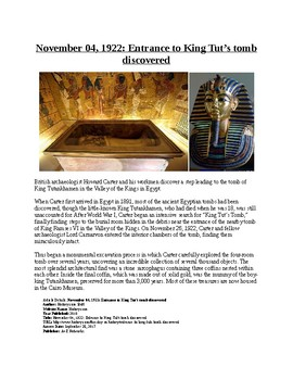 This Day in History - November 4: Tut's Tomb Discovered (no prep/sub plans)