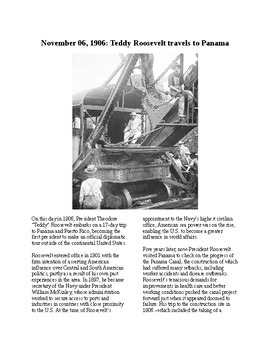 This Day in History - November 6: Roosevelt in Panama (no prep/sub plans)