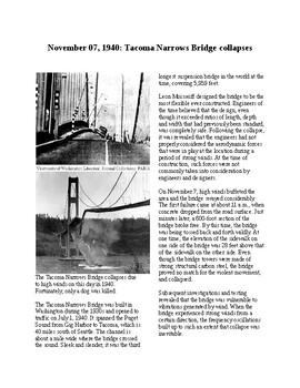 This Day in History - November 7: Tacoma Bridge Collapses (no prep/sub plans)