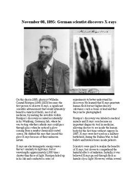 This Day in History - November 8: X-Rays are Discovered (no prep/sub plan)