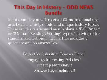 This Day in History - ODD NEWS BUNDLE!!! (no prep/sub plans)
