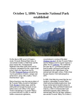 This Day in History - October 1: Yosemite National Park established (no prep)