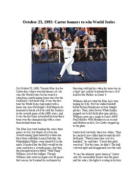 This Day in History - October 23: Joe Carter wins the World Series (no prep)