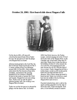 This Day in History - October 24: Over Niagara in a Barrel (no prep/sub plan)