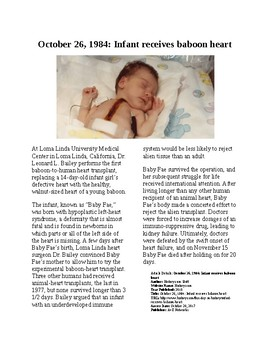 This Day in History: October 26: Baby Fae get Baboon Heart (no prep/sub plan)