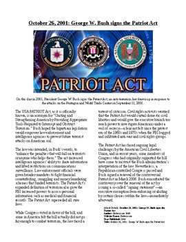 This Day in History - October 26: Bush Signs The Patriot Act (no prep/sub plan)
