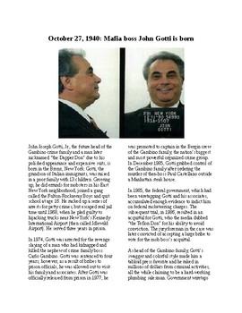 This Day in History - October 27: Gangster John Gotti Born (no prep/sub plan)