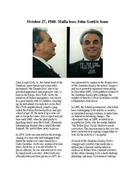 This Day in History - October 27: Gangster John Gotti Born (no prep/sub plan)