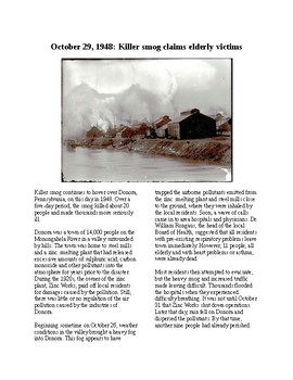 This Day in History - October 29: Killer Smog in Pennsylvania (no prep/sub plan)