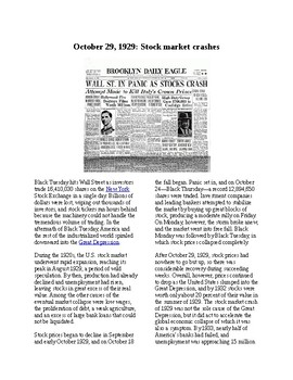 This Day in History - October 29: The Stock Market Crash 1929 (no prep/sub)
