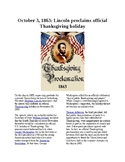 This Day in History - October 3: Lincoln proclaims Thanksgiving holiday (no prep
