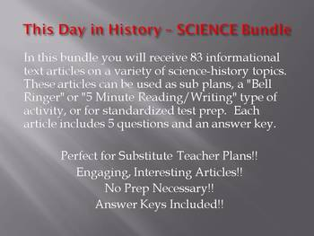This Day in History - SCIENCE BUNDLE!!! (no prep/sub plans)