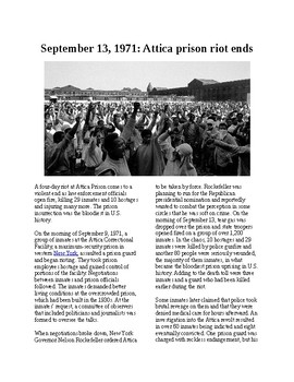 This Day in History - September 13: Attica prison riot ends (no prep/sub plans)
