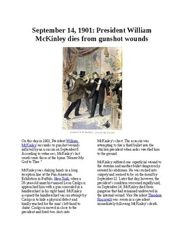 This Day in History - September 14: President McKinley Dies (no prep/sub plans)