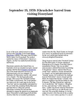 This Day in History - September 19: Khrushchev banned from Disneyland (no prep)