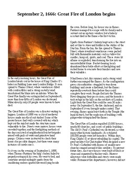 This Day in History - September 2: Great London Fire begins (no prep/sub plans)