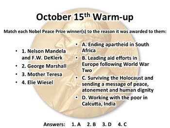 This Day in History Warm-Ups for October