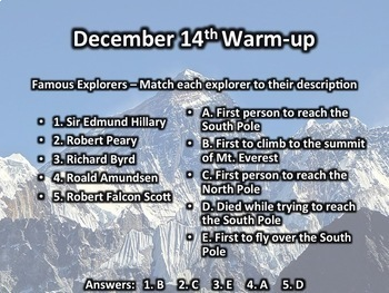 This Day in History Warm-ups for December