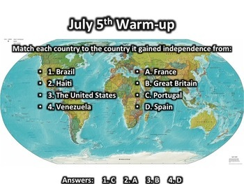 This Day in History Warm-ups for July