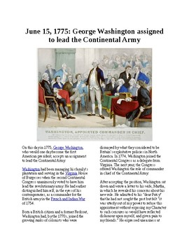 This Day in History - June 15: Washington takes command of Continetal Army
