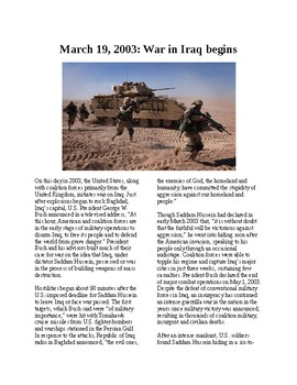 This Day in Histroy - March 19: The Iraq War begins (no prep/sub plan)