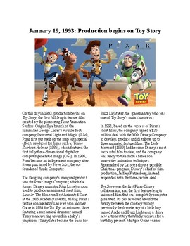 This Day is History - January 19: Production begins on Toy Story (no prep/sub)