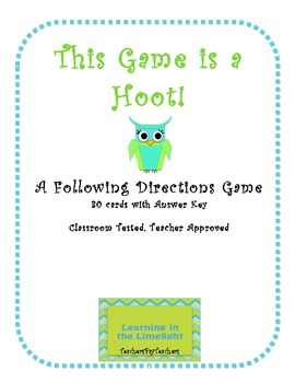 This Game Is A Hoot!: A Following Directions Game