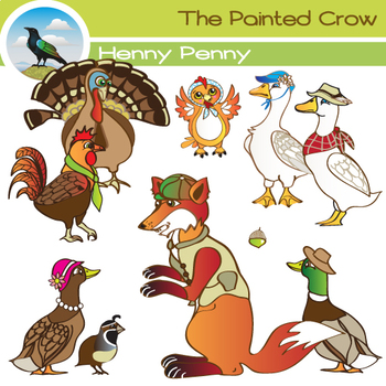 Henny Penny Clipart Set includes all 9 Chicken Little characters + acorn.