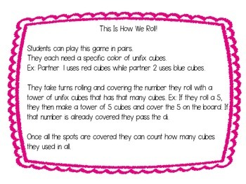 This Is How We Roll! Counting and Number Recognition