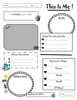 This Is Me! Fill in Worksheet by KY Tech Teacher | TpT