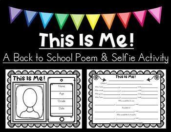 This Is Me --- A Back to School Poem and Selfie Mix Pair Share Activity